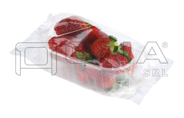 Vaschetta di fragole confezionate in flowpack