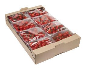 Cartone con confezioni di pomodorini