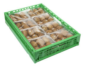 Cassa in plastica con confezioni di kiwi